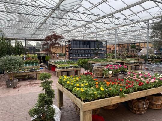 Inside glass construction garden centre Pavilion 1